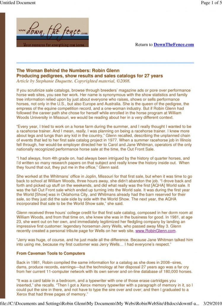Robin Glenn Pedigrees | DownTheFence com – Robin Glenn Pedigrees