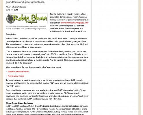 AQHA: New Report Availab...m Robin Glenn Pedigrees